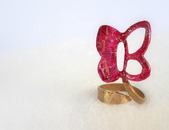 handmade Ring fuxia purple butterfly made of brass by violettstyle, €17.38