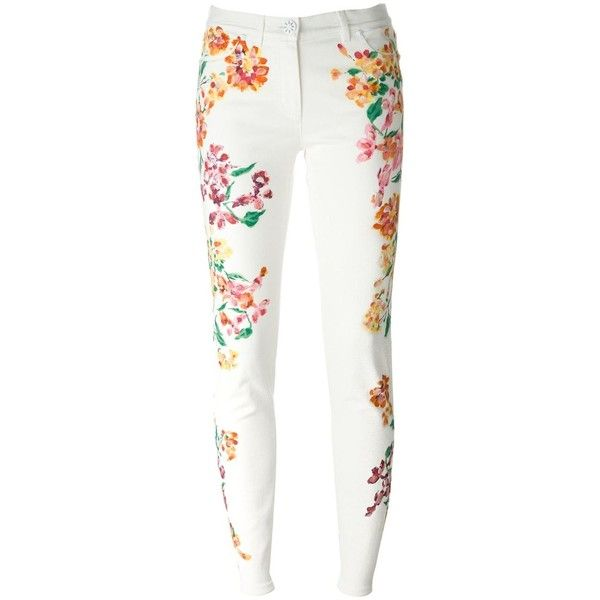 Versace Painted Flower Print Jeans (£720) ❤ liked on Polyvore featuring jeans, white, floral print skinny jeans, floral jeans, white skinny jeans, mid rise skinny jeans and multi colored skinny jeans