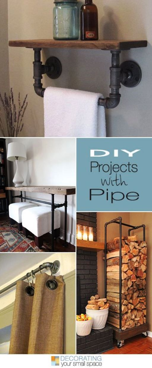Pipe is an inexpensive DIY material to use when creating any style with an industrial flair. Industrial style and design blends well with modern styles, and adds a rustic flavor that warms up your rooms, but keeps a style edge, as well.