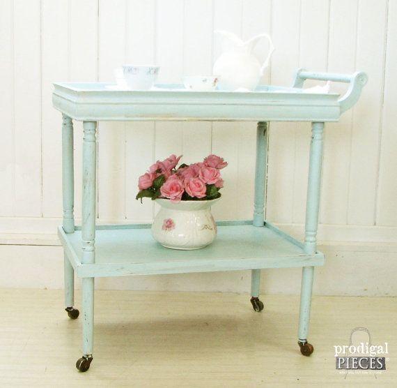 Aqua Blue Antique Serving Tea Cart with Wood Casters