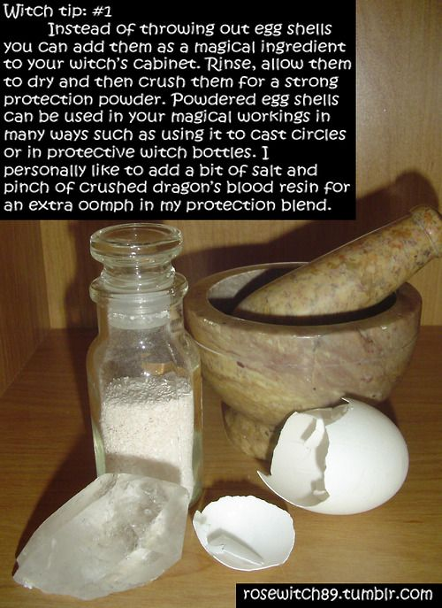 "Protection spells.  Nice to know others think about Egg shell the same way as I do.  I use it in place of ""brick dust"" in my protection spells for my home."