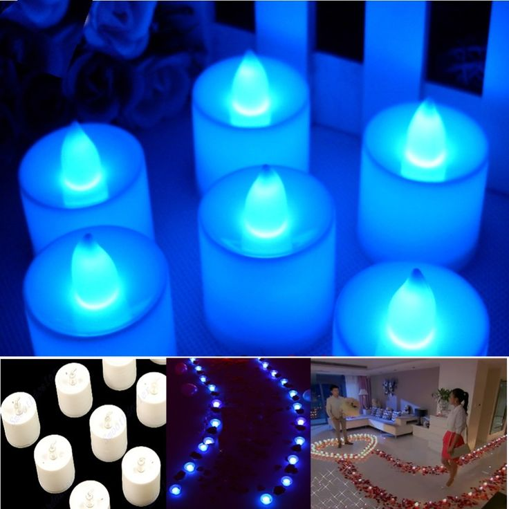 Blauw Thee Led Kaars Flickering Vlamloze Kaarsen Wedding Party Licht(China…