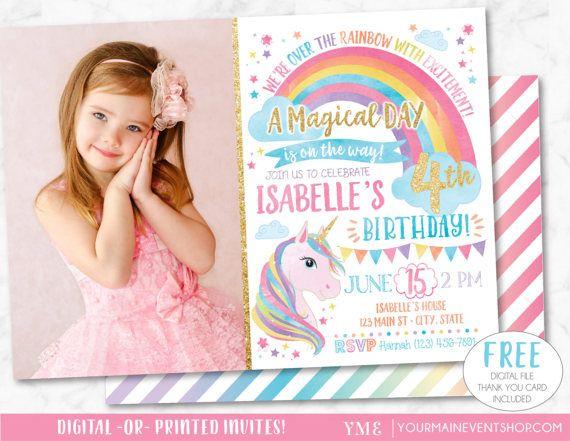 Invitación de unicornio arco iris invitación invitación