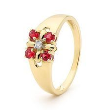 Created Ruby and Diamond Flower Ring - BEE-25264-CR
