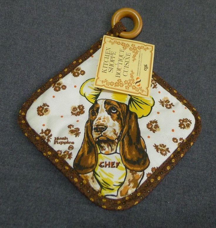 Hush Puppies Kitchen Pot Holder Bassett Hound Chef Dog NOS Rare Canada