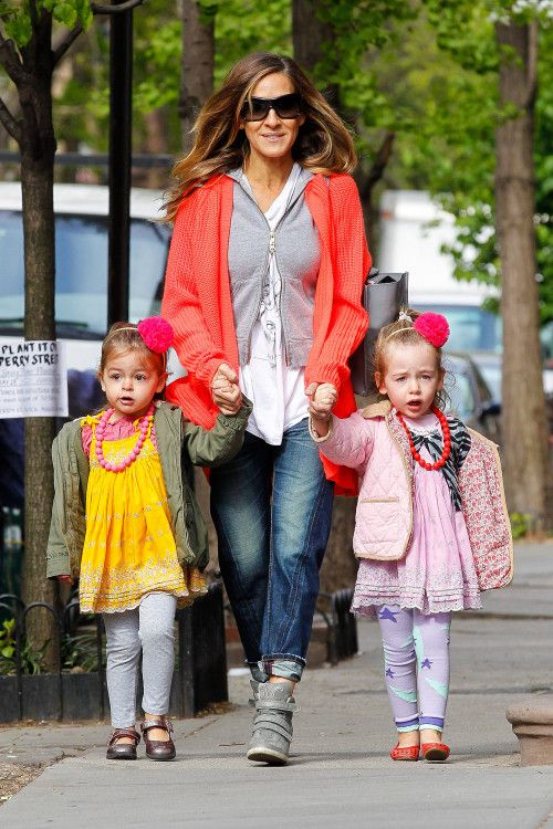 Sex and the City actress Sarah Jessica Parker and her husband, Ferris Bueller's Day Off star Matthew Broderick were spotted with their fashionable 3½-year-old twin daughters - Tabitha (yellow dress) and Loretta – in New York City on Monday (May 6).