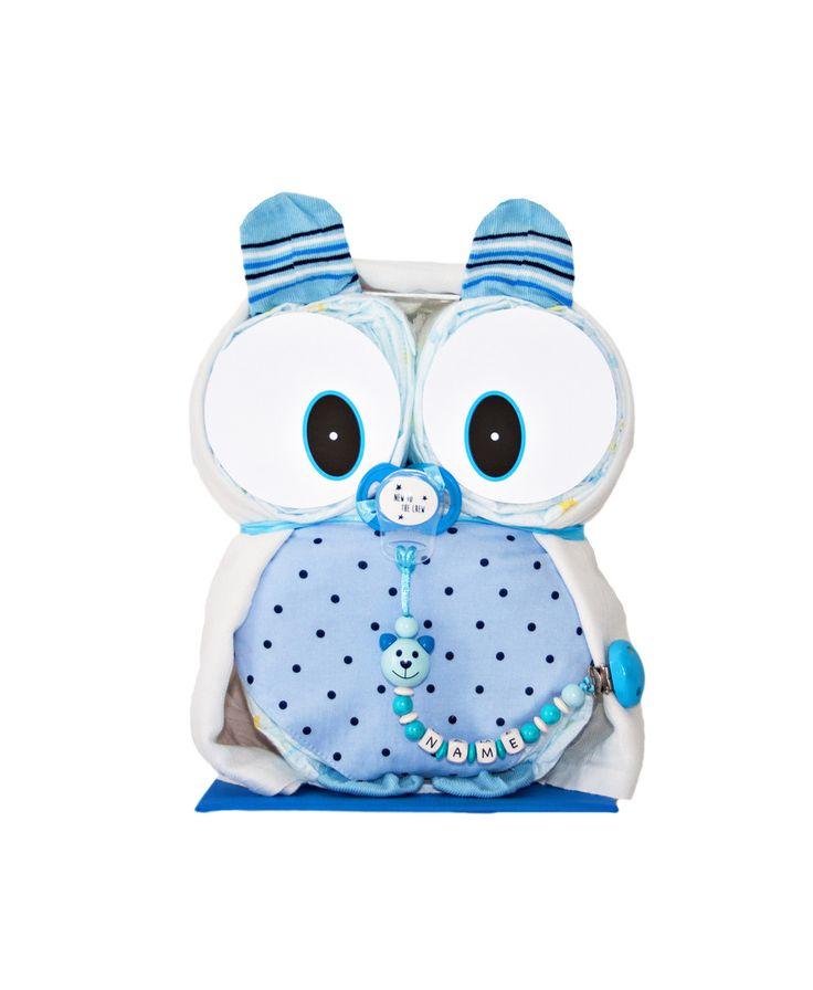 """Windeltorten – Windeleule """"Mio"""" in blau + Schnullerkette mit Namen – ein Designer …   – Babyjunge"""