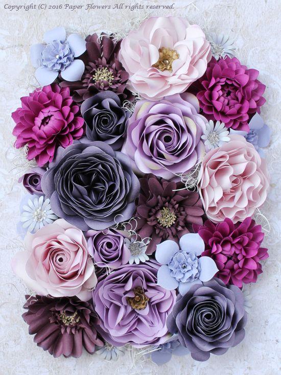 パープル系のペーパーフラワーのフレームアレンジメント の画像|Paper Flowers 〜ペーパーフラワーデザイナー 前田京子(JPA本部講師)のブログ〜