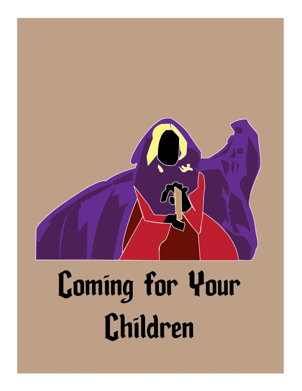 Silhouette of Sarah Sanderson from the movie Hocus Pocus. Watch out, she's coming for your children. Created on Adobe Illustrator.