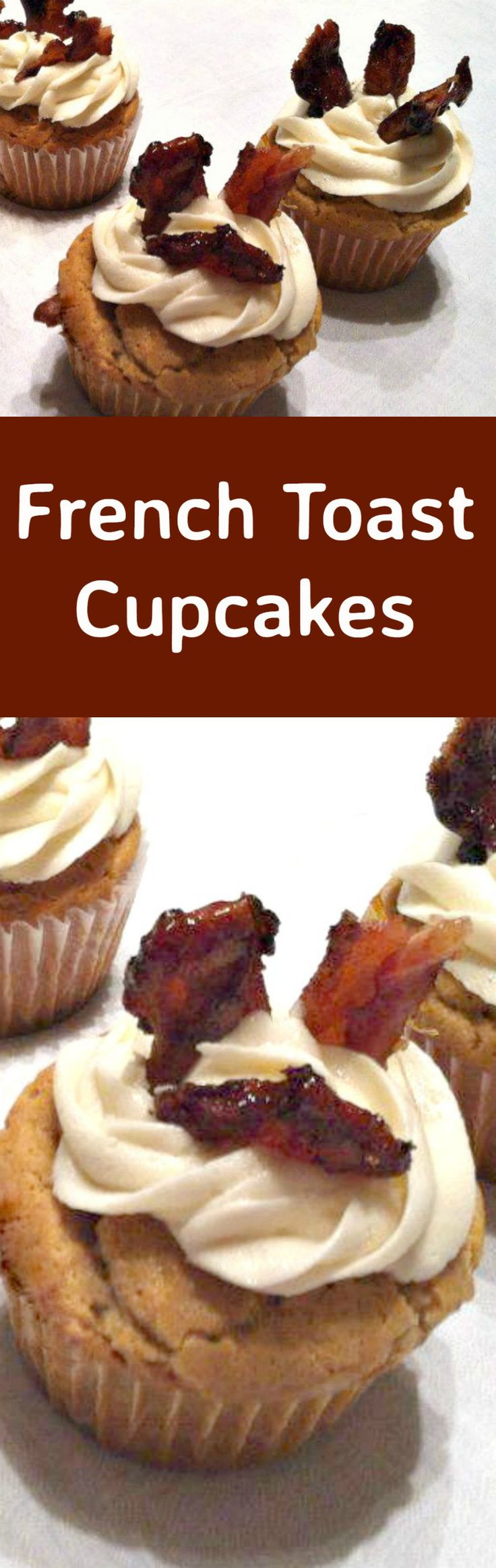 French Toast Cupcakes! These are wonderful soft and moist little cakes with a vanilla and maple flavor, frosted with maple cream and then topped off with some candied bacon. A super easy recipe and always so popular as a breakfast, dessert or for parties! | Lovefoodies.com