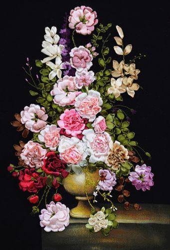 Coricamo - Flowers - Silk ribbon embroidery, Haft wstążeczkowy, Stužková výšivka, Bändchenstickerei