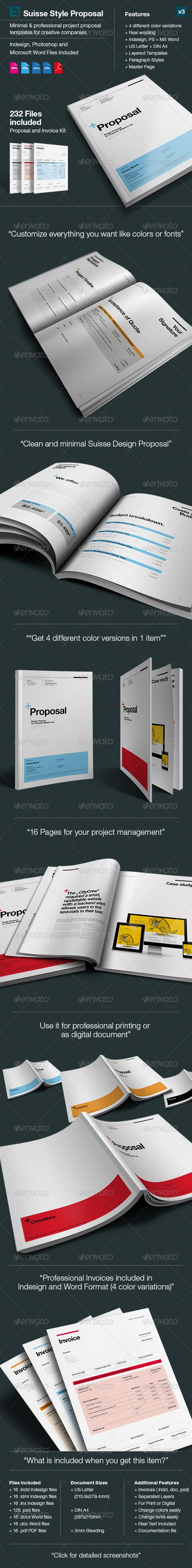 Proposal Minimal and Professional Project Proposal template for creative businesses, created in Adobe InDesign, Photoshop and MS Word, it comes with 4 color variations (black, light blue, red and orange) and two paper sizes including US Letter and International A4.