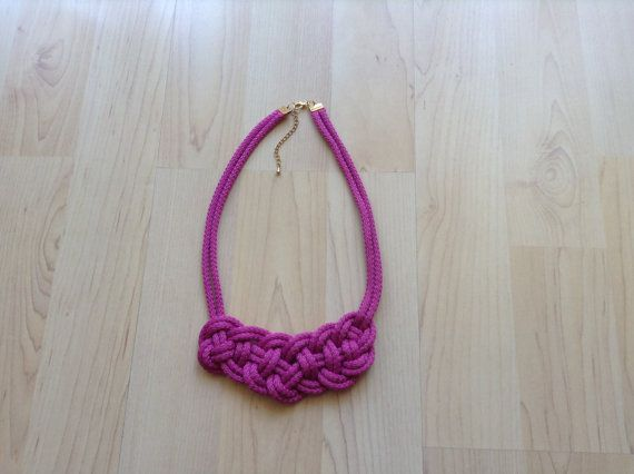 Cotton necklace. Knot necklace. Purple necklace. more by Kreseme