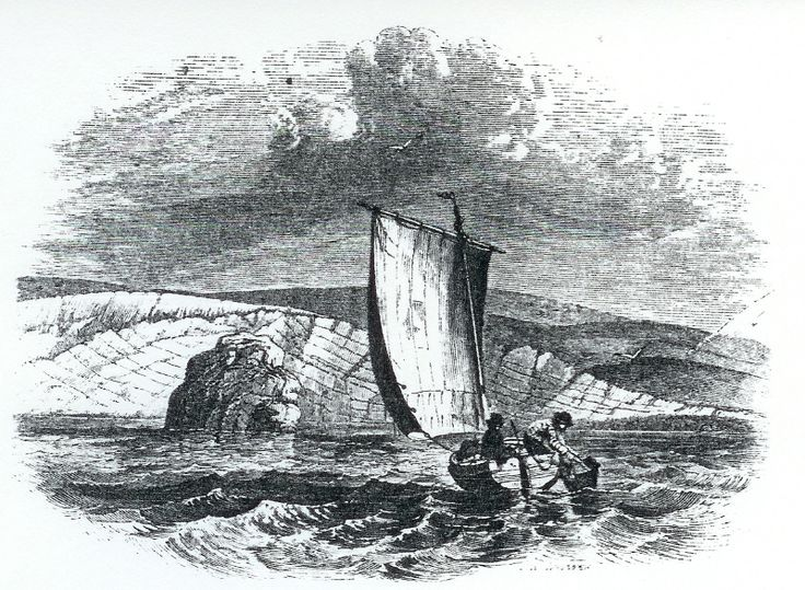 """Dredging off Weymouth Bay: from Gosse's 1854 'The Aquarium', perhaps with Jonah Fowler. """"A clever fellow is Jone, and though only bred as a fisherman, he is quite an amateur naturalist."""""""