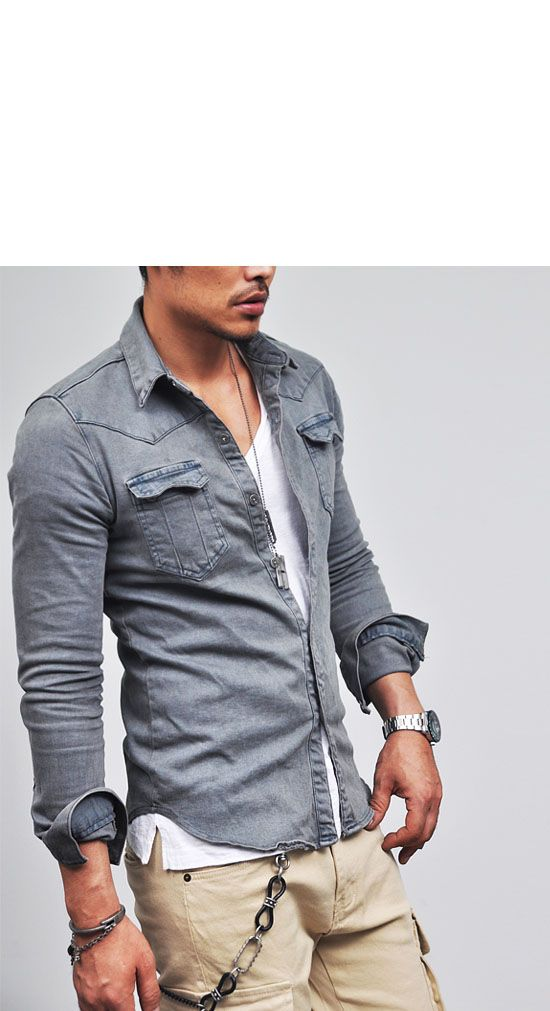 Tops :: Shirts :: Real Vintage Snug Span Denim-Shirt 66 - Mens Fashion Clothing For An Attractive Guy Look