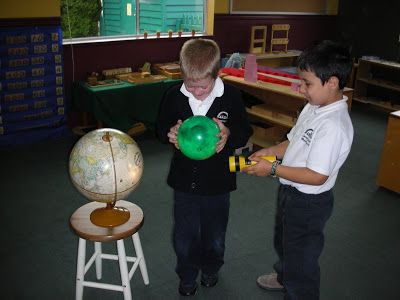 Learning about the phases of the Moon, the rotation of the Earth, and the light of the Sun are all hands on experiences in the Montessori classroom. Instead of simply reading from text books, children gain a deeper understanding by using physical items to recreate the phenomena of our solar system.