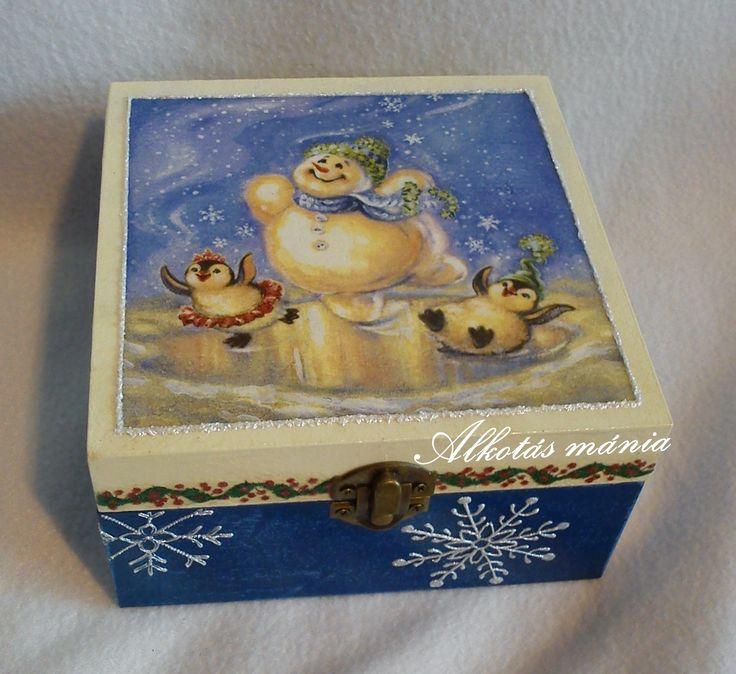 #karácsony##hóemberes##doboz##festett##dekupázs##tél##alkotásmánia#