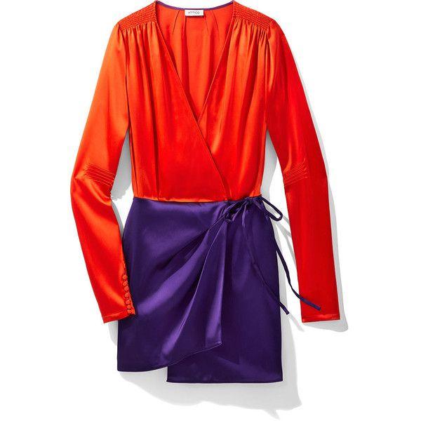 Attico Orange & Purple Satin Mini Robe Dress ($1,135) ❤ liked on Polyvore featuring dresses, tie waist dress, orange mini dress, purple cocktail dresses, purple satin dress and short dresses