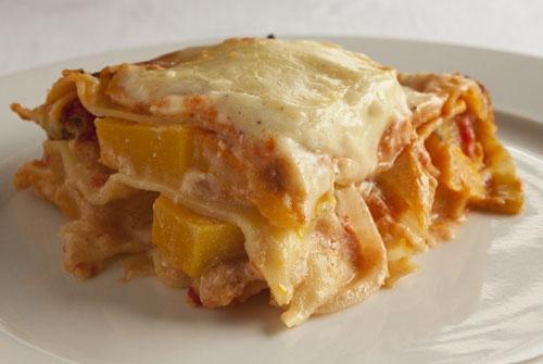 Pumpkin Lasagne, layers of golden, creamy goodness.