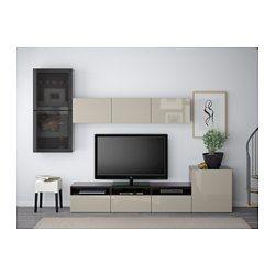 BESTÅ Combinaison rangt TV/vitrines - brun noir/Selsviken brillant/beige verre fumé, glissière tiroir, fermeture silence - IKEA