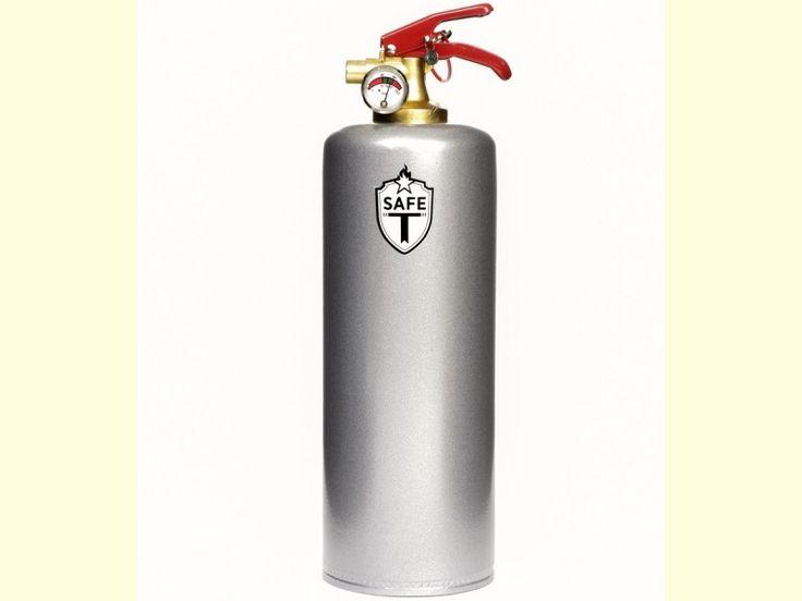 Extintor decorado en color plateado de Safe-T