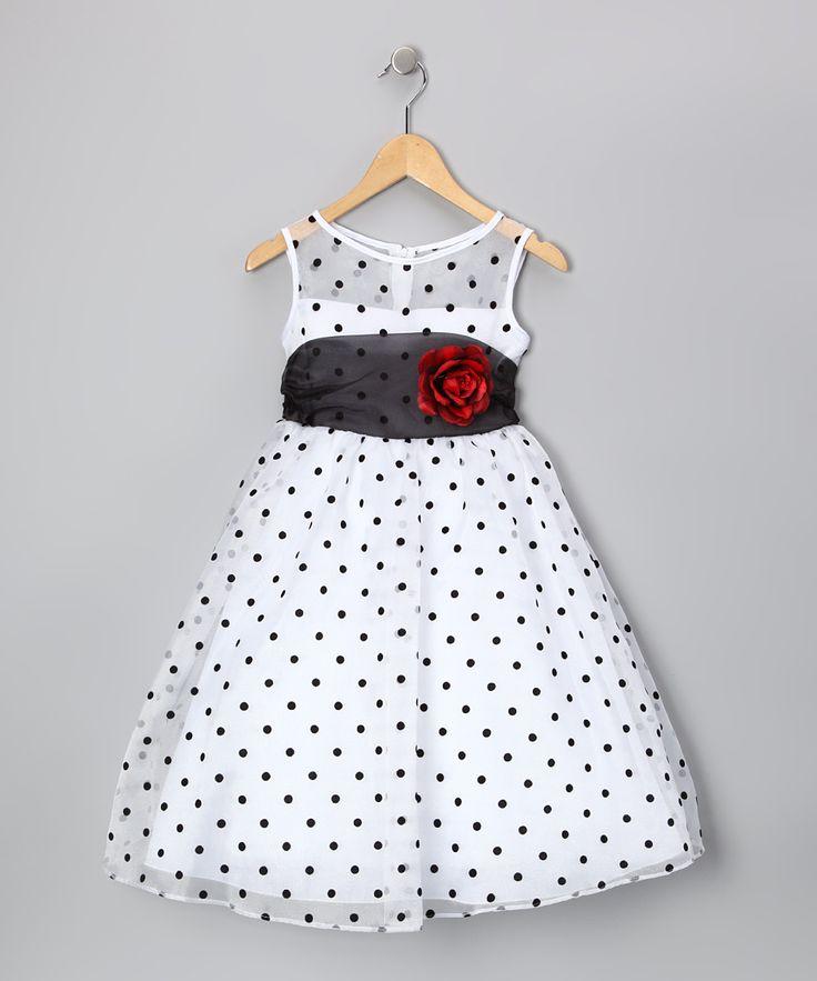 Kid's Dream White & Black Polka Dot Rose Dress - Toddler & Girls - Made in the USA