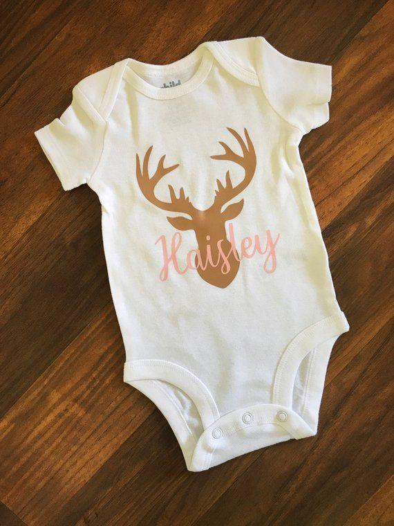 791e45700 Personalized Deer Onesie//Baby Girl//Baby Onesie//Baby Shower Gift//Girl  Onesie//Custom Onesie//Deer Antlers Onesie//Deer Onesie//Custom