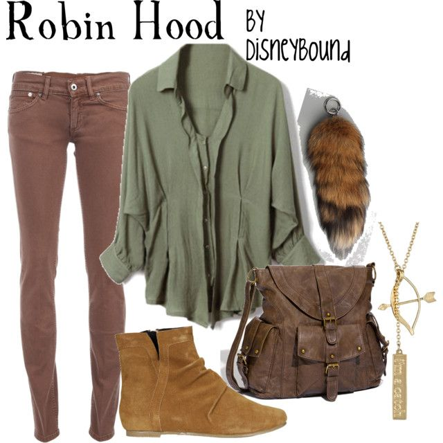 """Robin Hood"" By DISNEYBOUND -- [In This Outfit~~Cotton Batwing Sleeve Lapel Green Shirt; DONDUP Skinny fit jeans; Mimi Loves Jimi Rocky-W shoes; Knot2much2ask Catch Pendant Necklace; Harlett The American Red Fox Tail-Accessories for Unisex & T-Shirt & Jeans large Crossbody Bag Coral One Size.]~[Created by lalakay]'h4d'"