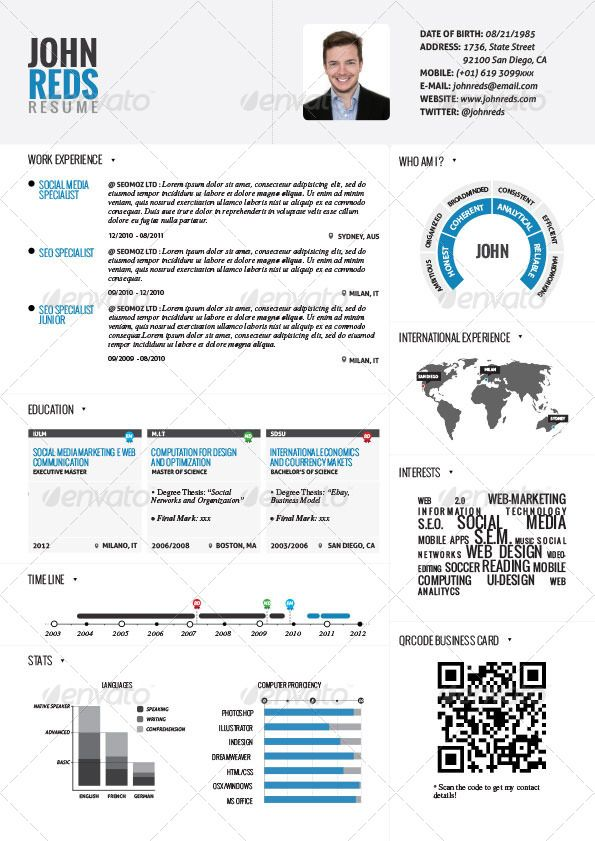 13 best Templates CV images on Pinterest Templates, Advertising - infographic resume template