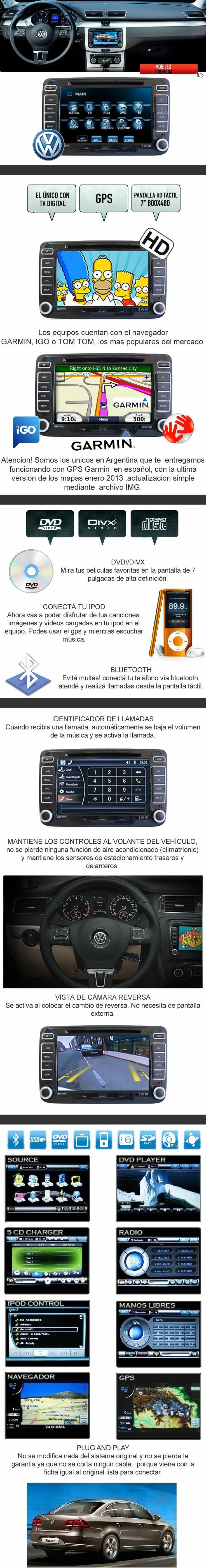 Estereo Multimedia Con Navegador Satelital Volkswagen Passat - Mobiles Premium En Argentina