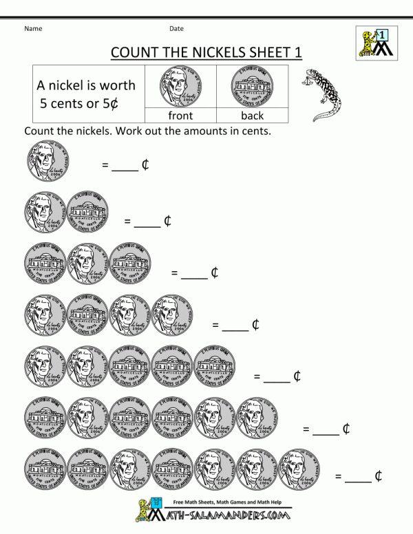 10 Counting Nickels Worksheet For Kindergarten First Grade Math Worksheets Money Math Worksheets Free Math