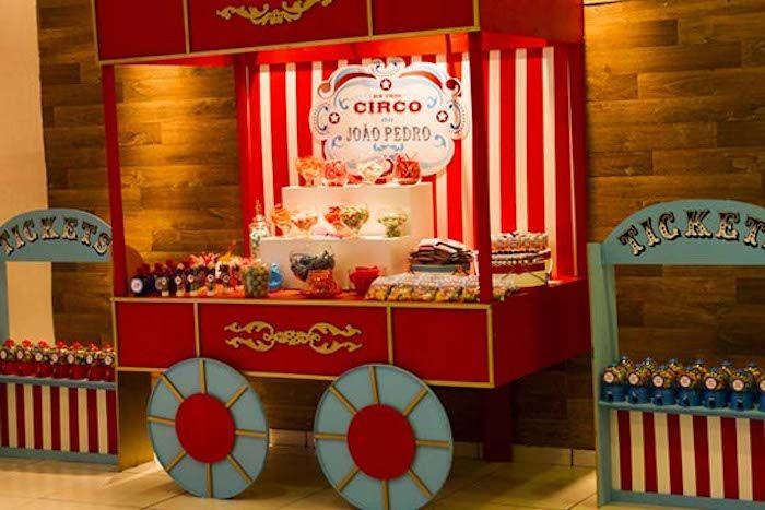 Circus themed birthday party via Kara's Party Ideas KarasPartyIdeas.com Cake, decor, food, desserts, favors, printables, and more! (30)