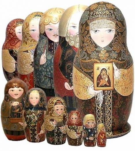 Souvenirs from Russia: Beautiful Matreshkas Set with the religious hint.