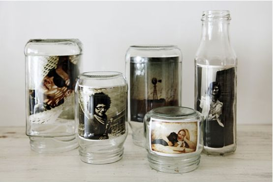 Place photos inside jars instead of buying a picture frame. Gorgeous, frugal, and green!