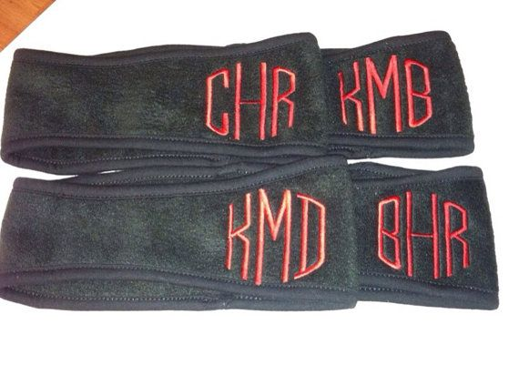 Monogrammed Fleece Headband  ear warmers  by TheCrazyDaisyStore, $12.00