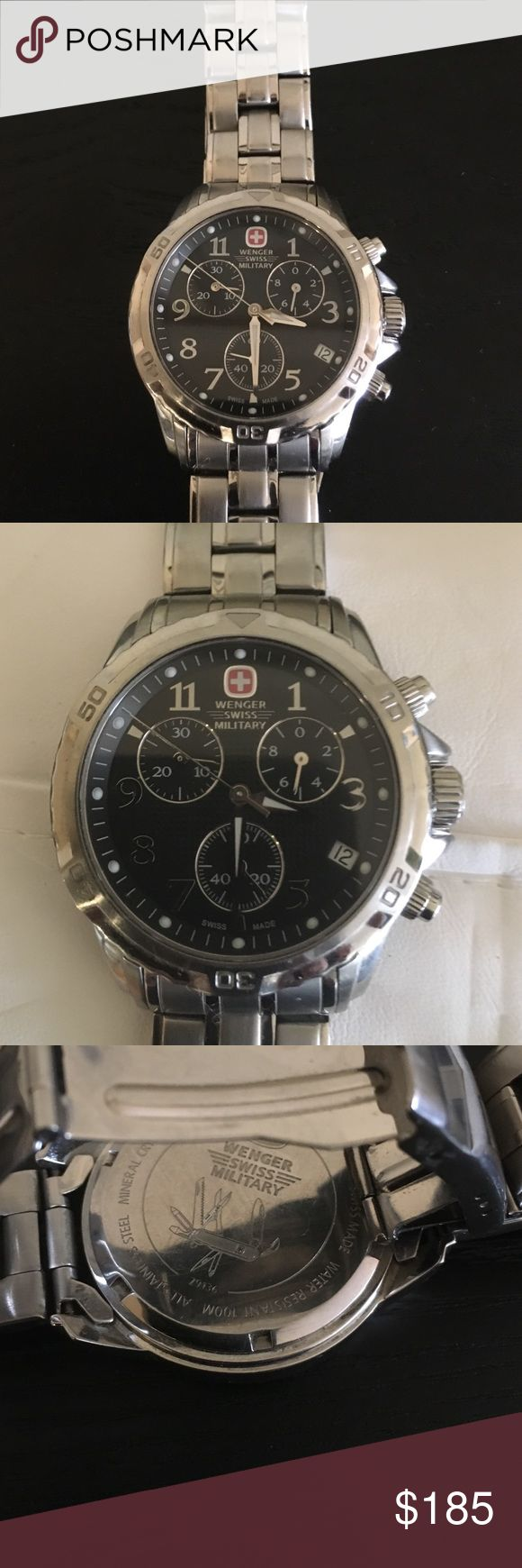 Excellent condition  Swiss military watch This is excellent condition Wenger Swiss Military men brigade stainless watch.Chronograph watch,waterproof 79136,vintage Swiss Accessories Watches