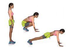 A. pernas unidas. B. Flexione  os joelhos e vá agachando até  o chão. Posicione rapidamente as mãos à frente do corpo, um pouco mais abertas do que a largura dos ombros, com as palmas tocando  o chão. C. Dê um impulso com os pés, saltando para trás. Flexione os braços e desça rapidamente o tronco e os quadris até encostá-los no chão. Mantenha a ponta dos pés tocando o chão.