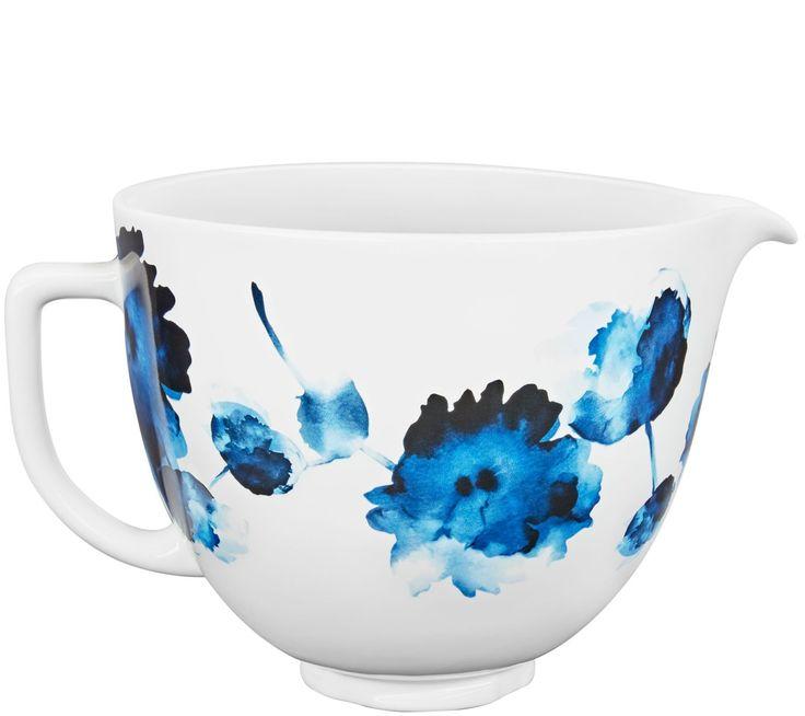 Kitchenaid 5quart ceramic patterned bowl inkwater color