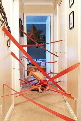 Test your guests agility with a crepe paper maze. | 31 DIYs To Help You Throw The Best Slumber Party Ever