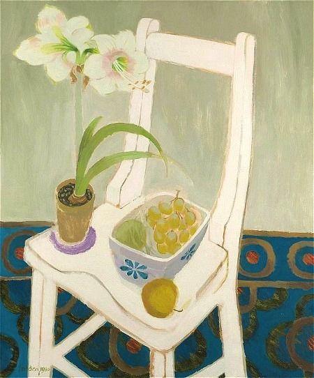 Maria Fedden Natura morta amb fruites i Amarilis en una cadira stilllifequickheart 1980: