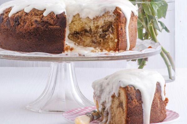 cake with coffee crust and icing yogurt