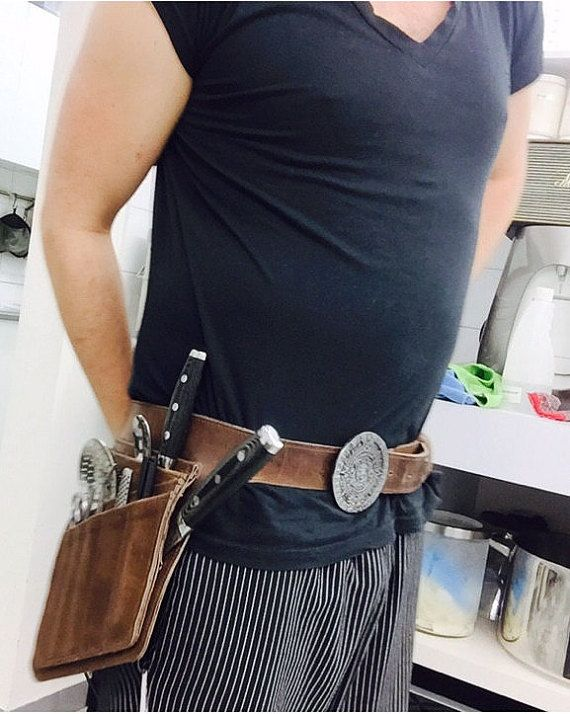 The ZoonderBelt  Chef Knives Belt For chefs who likes their own knives and small tools around them.  3 midium size knives cells (9 longest blade)
