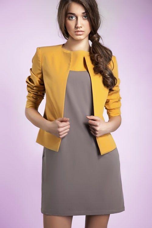 31 best veste habill e tailleurs femme images on pinterest - Blazer jaune moutarde ...