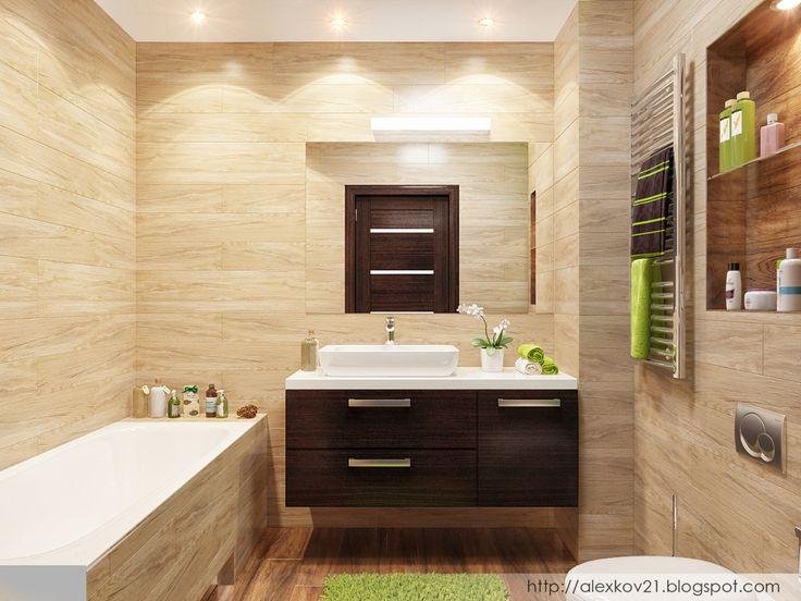 Решение ванной в природных тонах. Плитка под дерево