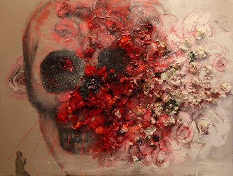 Private Commission Works | Corno E-Store                 Saint Sebastian 3. A skull transitioning into flowers.