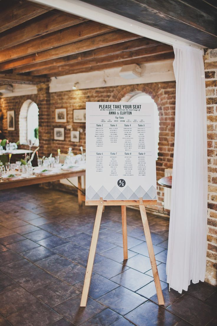 Bold Contemporary Graphic Table Plan on an Easel | Laid Back Bohemian Coastal Wedding | http://www.rockmywedding.co.uk/anna-clayton/ | Images by Igor Demba Photography