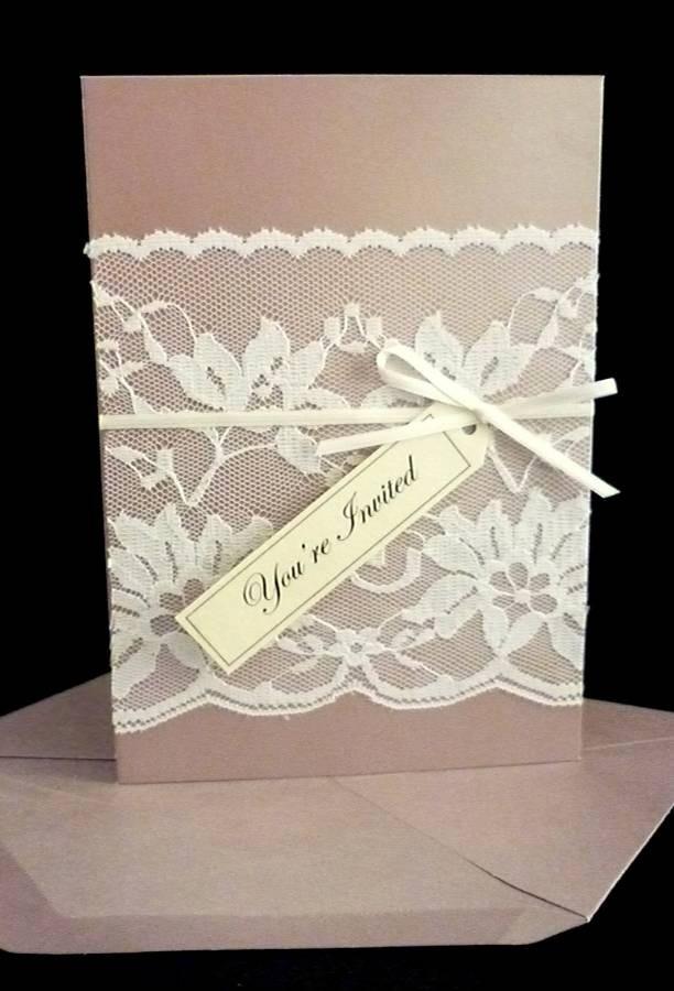 Vintage Lace Wedding Invitation by StunningStationery on