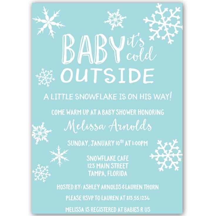 Little Snowflake Aqua Baby Shower Invitation