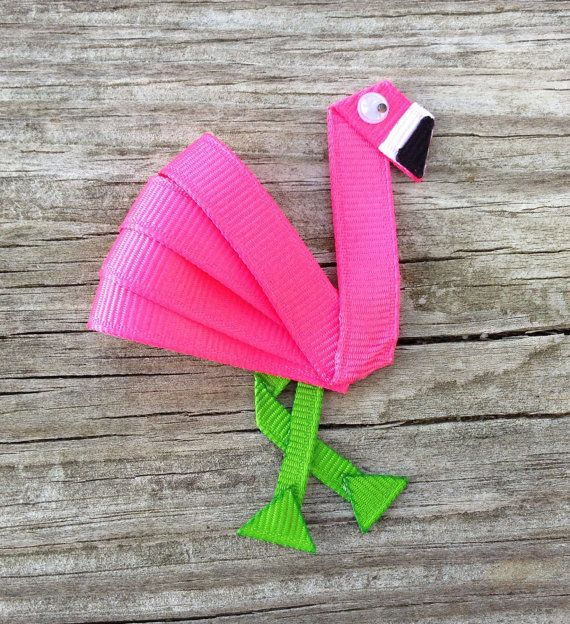 Pink Flamingo Ribbon Sculpture Hair Clip - Toddler Hair Clips - Girls Hair Accessories... Free Shipping Promo