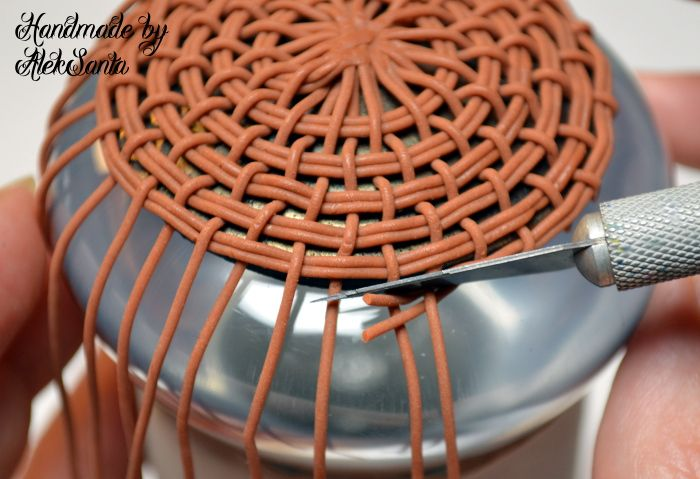 How to make a woven basket #Polymer #Clay #Tutorials